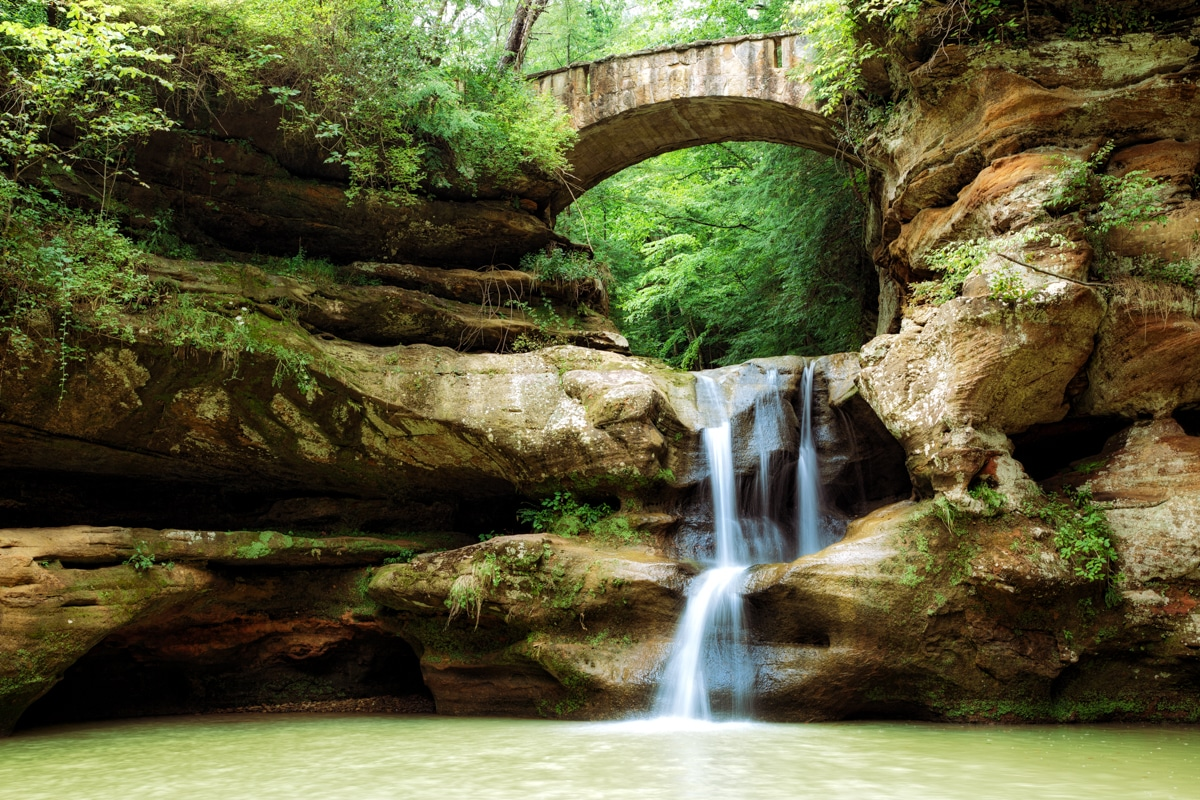 Upper Falls Waterfall at Old Man's Cave in Hocking Hills